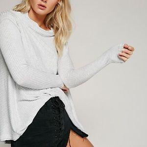 Free People Grey Long Sleeve Ribbed Thermal Shirt